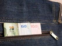 Тайский счет 100, 50 и 20 ванны с тайской монеткой одним Стоковое Изображение