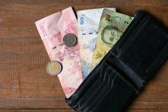 Тайский счет 100, 50 и 20 ванны с тайской монеткой одним Стоковые Изображения RF