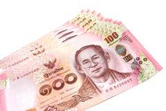 Тайский счет новые 2017 100 батов изолированных на белой предпосылке Стоковое Изображение