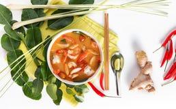 Тайский Том Yum Goong или пряный суп Tom yum с креветками креветок стоковое изображение