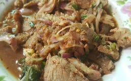Тайский традиционный пряный салат свинины Стоковое фото RF