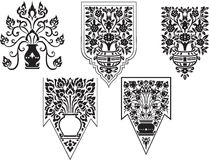 Тайский установленный вектор цветков изящного искусства [EPS10] Стоковые Изображения