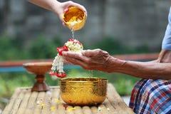 Тайский фестиваль Songkran, молодой человек лить чистые воду и цветки на руках старшего человека, воды благословляя церемонию взр стоковое изображение