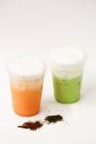 Тайский чай и зеленый чай Стоковая Фотография