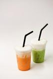 Тайский чай и зеленый чай Стоковое фото RF