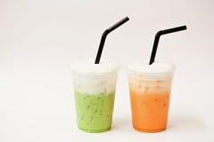 Тайский чай и зеленый чай Стоковые Фото