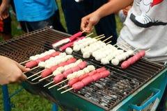 Тайский шарик свинины и красная сосиска зажарили на плите углем располагаясь лагерем Стоковая Фотография RF