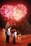 Тайский nighttime ламп - азиатская пара Стоковые Фотографии RF
