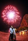 Тайский nighttime ламп - азиатская пара Стоковая Фотография RF