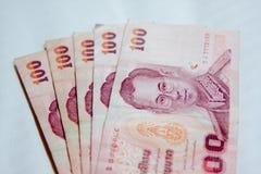 100 тайских банкнот денег Стоковое Изображение