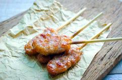 Тайское введенное в моду babeque свинины на коричневом цвете Стоковое фото RF