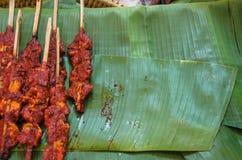 Тайское изображение Мягк-фокуса жареного цыпленка еды улицы Стоковая Фотография