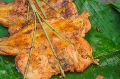 Тайское изображение Мягк-фокуса жареного цыпленка еды улицы Стоковые Фотографии RF