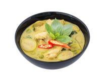 Тайское изолированное карри, тайская еда зеленого цвета цыпленка Стоковые Изображения