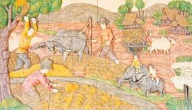 Тайское искусство в старой родной жизни Стоковое Изображение