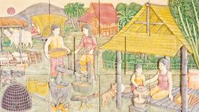 Тайское искусство в старой родной жизни Стоковое фото RF