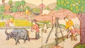 Тайское искусство в старой родной жизни Стоковое Изображение RF