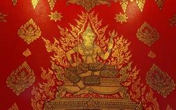 Тайское искусство картины стиля старое на стене виска Стоковое Фото
