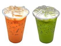 Тайское молоко чая и зеленый чай доят в чашке Стоковые Фотографии RF