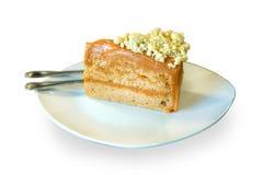 Тайское отбензинивание торта чая с сыром на изолированной белой предпосылке стоковая фотография rf