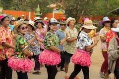 Тайское престарелое празднует фестиваль Songkran или тайский Новый Год Стоковые Изображения