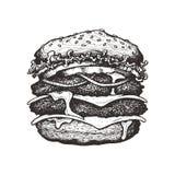 также вектор иллюстрации притяжки corel Двойной cheeseburger с сыром, томатом, луком и салатом Большой бургер говядины с овощами иллюстрация штока