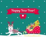 также вектор иллюстрации притяжки corel Лайка носит команду с подарками и рождественской елкой Изображение рождества для украшени Стоковое Фото