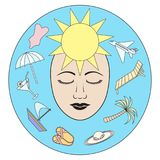 также вектор иллюстрации притяжки corel Мечты лета, остатков и моря Стоковая Фотография