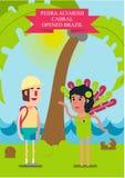 также вектор иллюстрации притяжки corel Путешественник встречал элегантную красивую девушку в купальном костюме на океане иллюстрация вектора
