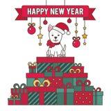 также вектор иллюстрации притяжки corel Собака на горе подарков Поздравления Стоковые Изображения