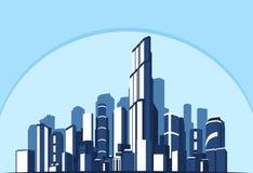 также вектор иллюстрации притяжки corel Абстрактный голубой город предпосылки будущего Концепция дела и туризма с небоскребами Стоковое Фото