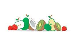 также вектор иллюстрации притяжки corel иконы Яблоко, киви, клубника, кокос, груша Плоский стиль Стоковые Фото