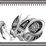 также вектор иллюстрации притяжки corel Индийские мотивы & x28; man& x29 краснокожего; Стоковое Изображение