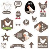также вектор иллюстрации притяжки corel Комплект ярлыков вектора: Свободный цыпленок ряда Стоковые Фотографии RF