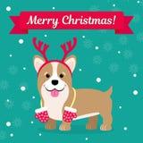 также вектор иллюстрации притяжки corel Vishkorgs в рожках оленей с mittens на фоне снежинок Изображение рождества для Стоковые Фотографии RF