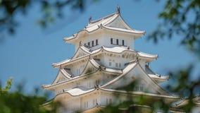 Также вызванный профиль замка Himeji, белым замком цапли стоковая фотография rf