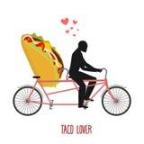 Тако любовника Мексиканская еда на велосипеде Любовники задействовать Стоковые Изображения
