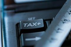 Таксируйте слово на используемом калькуляторе, увеличивая номер на ортотесте ленты стоковая фотография