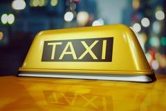 такси 3d в городе ночи Стоковое Изображение