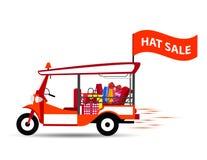 Такси TUK TUK или 3 Таиланда катило ходя по магазинам горячий флаг продажи, красочную иллюстрацию Стоковые Фото
