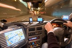 таксомотор ночи кокпита Стоковое Фото