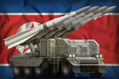 Тактическая кракторейсовая баллистическая ракета с камуфлированием города на fla соотечественника Северной Кореи Корейской Народн стоковые фото