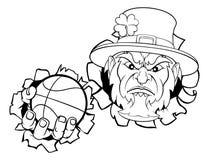 Талисман баскетбола лепрекона рвя предпосылку иллюстрация вектора