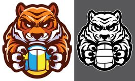 Талисман волейбола тигра иллюстрация вектора