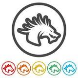 Талисман дракона, черный силуэт дракона, 6 включенных цветов Стоковые Изображения RF