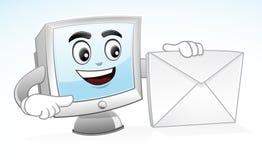Талисман компьютера - посылайте меня по электронной почте иллюстрация штока