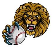 Талисман спорт шарика бейсбола льва иллюстрация штока