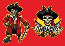 Талисман черепа пирата в комплекте иллюстрация штока
