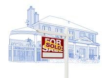 Таможня и проданный чертеж знака недвижимости на белизне иллюстрация вектора