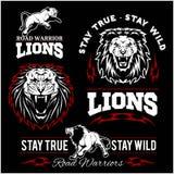 Таможня львов едет на автомобиле логотип вектора футболки клуба на темной предпосылке Дикие животные - комплект вектора иллюстрация вектора